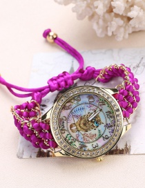 Fashion Purple Owl Pattern Decorated Pure Color Watch