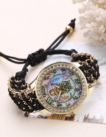 Fashion Black Owl Pattern Decorated Pure Color Watch