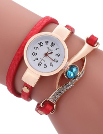 Fashion Red Diamond Decorated Round Dail Shape Simple Watch