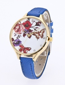 Fashion Blue Butterfly&flower Pattern Decorated Pure Color Watch