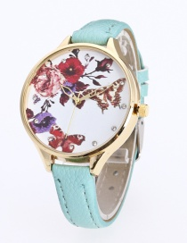 Fashion Green Butterfly&flower Pattern Decorated Pure Color Watch