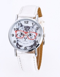 Fashion White Cat Pattern Decorated Round Dail Pure Color Watch