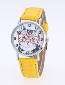 Fashion Yellow Cat Pattern Decorated Round Dail Pure Color Watch