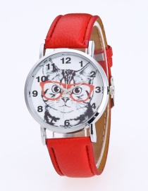 Fashion Red Cat Pattern Decorated Round Dail Pure Color Watch