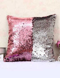 Fashion Pink+silver Color Sequins Decorted Simple Pillowcase