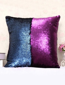 Fashion Purple+blue Sequins Decorted Simple Pillowcase