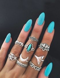 Fashion Silver Color Flower Shape Decorated Simple Ring (9 Pcs)