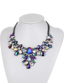 Fashion Purple Water Drop Shape Diamond Decorated Simple Necklace