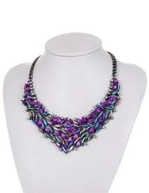 Fashion Purple Oval Shape Diamond Decorated Pure Color Necklace