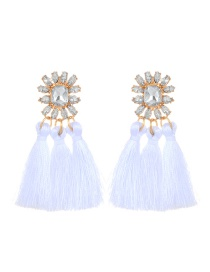 Fashion White Tassel Pendant Decorated Pure Color Earrings