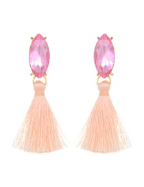 Fashion Light Pink Diamond&tassel Decorated Pure Color Earrings