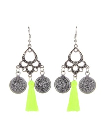 Fashion Light Green Coins&tassel Decorated Simple Earrings
