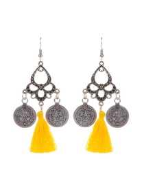 Fashion Yellow Coins&tassel Decorated Simple Earrings