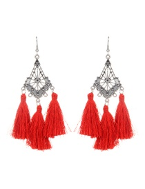 Fashion Red Long Tassel Decorated Hollow Out Earrings