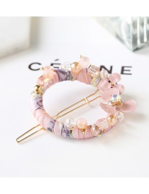 Fashion Pink Beads&flower Decorated Simple Hairpin