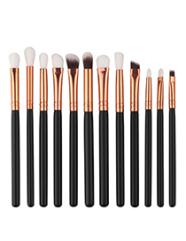 Fashion Gold Color+black Color Matching Decorated Makeup Brush(12pcs)