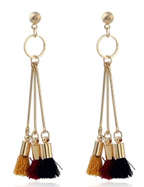 Fashion Multi-color Tassel Decorated Simple Long Earrings