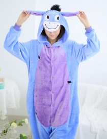 Fashion Blue Donkey Shape Decorated Simple Nightgown