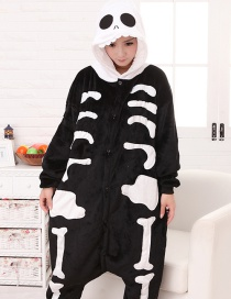 Fashion White+black Skull Shape Decorated Simple Nightgown