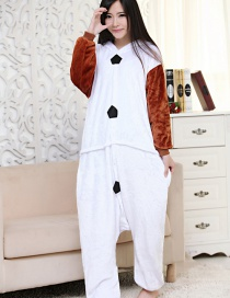 Fashion Brown+white Snowman Shape Decorated Simple Nightgown