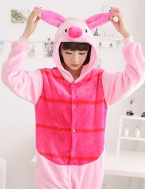 Fashion Pink+plum Red Pipi Pig Shape Decorated Simple Nightgown
