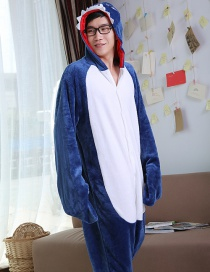 Fashion Dark Blue Shark Shape Decorated Simple Nightgown
