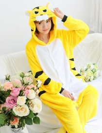 Fashion Yellow+white Tiger Shape Decorated Simple Nightgown