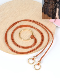 Fashion Brown Circular Ring Decorated Double Layer Waistband