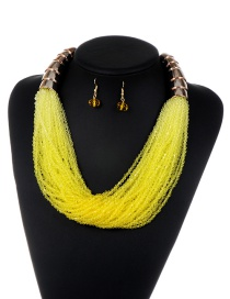 Fashion Yellow Tassel Decorated Pure Color Jewelry Sets