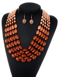 Fashion Coffee Beads Decorated Pure Color Gradient Jewelry Sets
