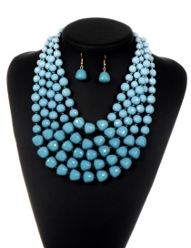 Fashion Light Blue Pure Color Decorated Simple Jewelry Sets