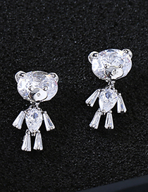 Fashion Silver Color Bears Shape Decorated Pure Color Earrings