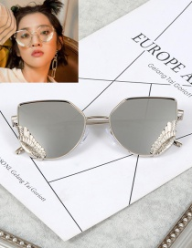 Fashion Silver Color Wings Decorated Pure Color Glasses