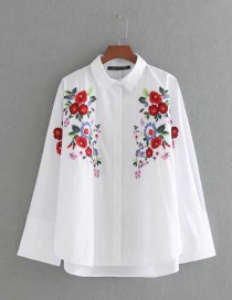 Fashion White Embroidery Flower Decorated Long Sleeves Shirt