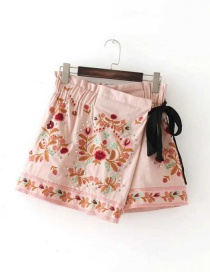 Fashion Pink Embroidery Flower Decorated Simple Skirt