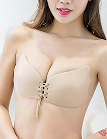 Fashion Beige Pure Color Decorated Wings Shape Magic Bra(without Steel Ring)