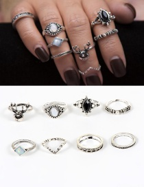 Fashion Silver Color Deer&diamond Decorated Ring Sets(8pcs)