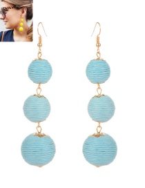 Fashion Light Blue Beads Decorated Pure Color Simple Earrings Reviews