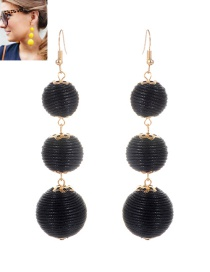 Fashion Black Beads Decorated Pure Color Simple Earrings