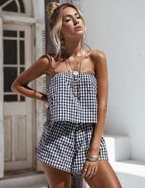 Elegant Black Grid Pattern Decorated Off Shoulder Design Jumpsuit