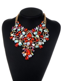 Fashion Red Water Drop Shape Diamond Decorated Hollow Out Jewelry Sets