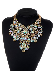 Fashion Champagne Water Drop Shape Diamond Decorated Hollow Out Jewelry Sets