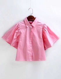 Fashion Plum Red Pure Color Decorated Simple Shirt