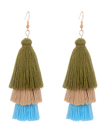 Fashion Multi-color Tassel Decorated Umbrella Shape Earrings
