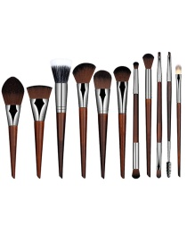 Fashion Brown Pure Color Decorated Simple Makeup Brush (11 Pcs)