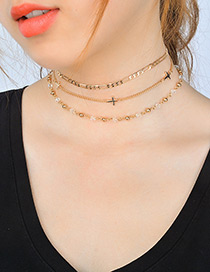 Fashion Gold Color Cross Shape Decorated Simple Choker