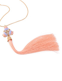Fashion Light Pink Tassel Decorated Simple Necklace