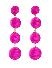 Fashion Plum Red Ball Shape Decorated Simple Earrings