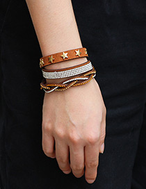 Fashion Dark Brown Star Shape Decorated Multi-layer Bracelet