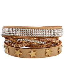 Fashion Light Brown Star Shape Decorated Multi-layer Bracelet
